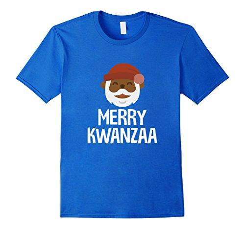 Mens Black Santa Merry Kwanzaa African Holiday Tradition T-Shirt 2XL Royal Blue (Kwanzaa Traditions Of)