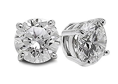 Diamond Studs Forever 14K White Gold Solitaire Diamond Earrings (1/2 Ct tw, GH/I1-I2)