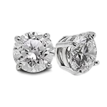 1/3 Carats Total Weight Solitaire Diamond Earrings GH/I2-I3 14K White Gold // Boucles d'oreilles en or blanc 14 carats - diamant 0,33 (1/3) carat - GH/I2-I3