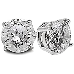 Diamond Studs Forever Solitaire Diamond Earrings (1/2 Ct tw, AGS Certified, GH/I1-I2) 14K White Gold