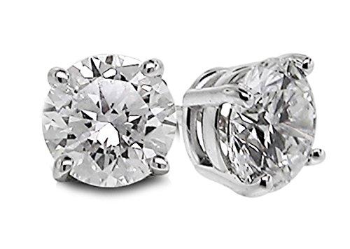Diamond Studs Forever - Clous d'oreille en or blanc 14 carats - diamant 1/2 carat - G-H/SI2-I1