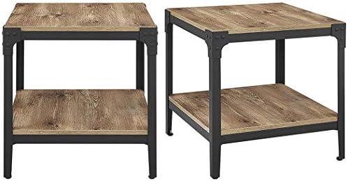 Walker Edison Rustic Wood End Side Table