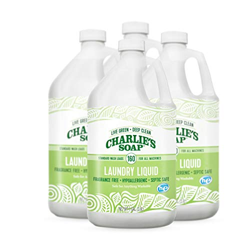- Charlie's Soap - Fragrance Free Laundry Liquid - 160 Loads (Four 160-load Bottles, 640 Total Loads)