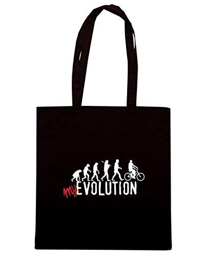 T-Shirtshock - Bolsa para la compra T0251 EVOLUZIONE BICICLETTA Negro