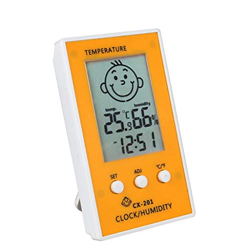 Digital LCD Thermometer Hygrometer Baby Smile Crying Face Humidity Meter Weather Station Tester Temperature Clock (Color : Red) -