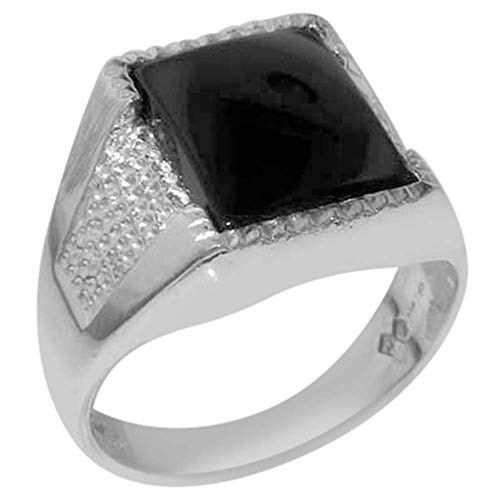Gents Solid 925 Sterling Silver Natural Onyx Mens Signet Ring - Size 10.5 - Sizes 6 to 13 Available ()