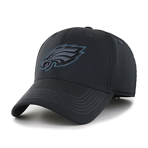 OTS NFL Philadelphia Eagles Wilder Center Stretch Fit Hat, Black, Medium/Large