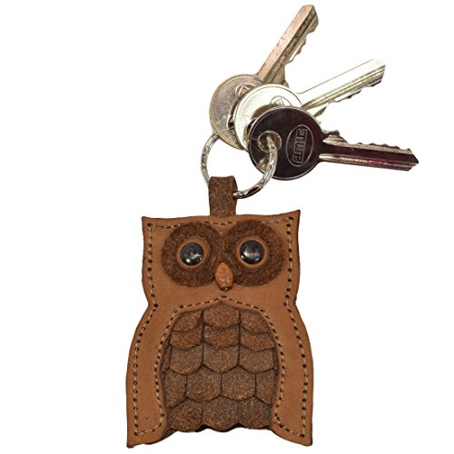 (Critter Keychain Rustic Leather Animal Key Ring Holder Handmade by Hide & Drink :: Hoot Owl)