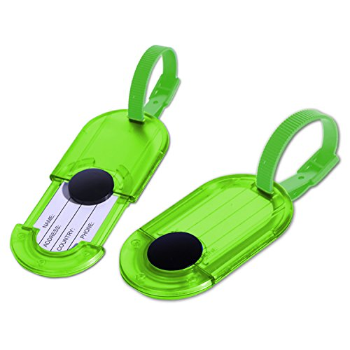 Luggage Tags Holder - Travel ID Bag Water Resistant Tags - Set of 2 (Neon (Green Neon Luggage Tag)