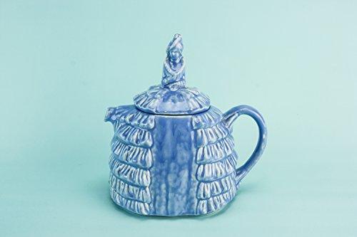 Shabby Chic Pottery Daintee Laydee TEAPOT Small Art Deco Gift Vintage Blue Sadler Crinoline Lady 1930s English LS