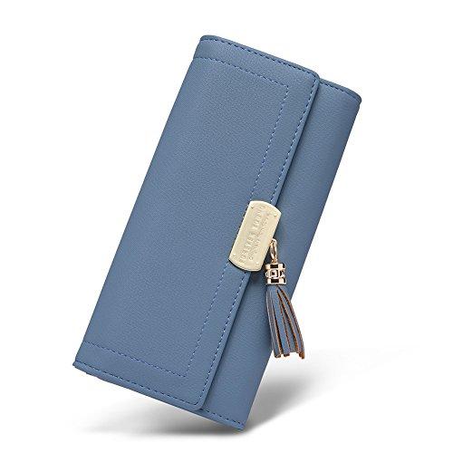 Women Wallet Soft Leather Designer Trifold Multi Card Organizer Lady Clutch Blue