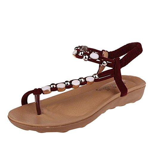 YOUJIA Damen Böhmen Flip Flop Schuhe Strass Wulstige Flache Thong Sandalen Rot