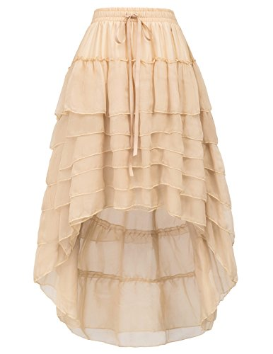 Steampunk Outfits Female (Women Amelia Steampunk Cake Skirt Elastic Waist With Draw String BP227-2 Size L Champagne)