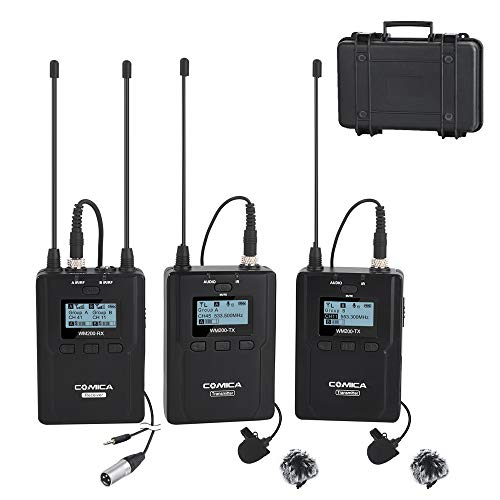 - Wireless Microphone System Comica CVM-WM200A 96-Channels Professional UHF Dual Wireless Lavalier Lapel Microphone for Canon Nikon Sony Panasonic DSLR Cameras,XLR Camcorders and Smartphone.(2TX+1RX)