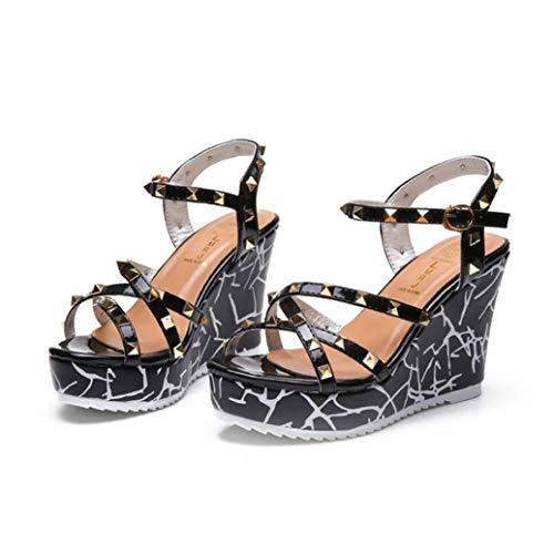 Women's Wedges Sandals Cross Strap Rivets Open Toe Ankle Buckle Strap Dress Anti-Skid Platforms Sandal Black