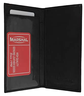 Brand New Hand Crafted Genuine Soft Leather Checkbook Cover simple-156 (Black)