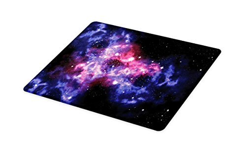 Lunarable Outer Space Cutting Board, Dusty Gas Cloud Nebula and Star Clusters in The Outer Space Cosmos Solar Print, Decorative Tempered Glass Cutting and Serving Board, Large Size, Navy Purple by Lunarable