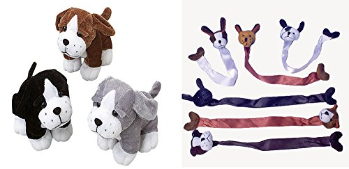 U.S. Toy Sitting Dogs Stuffed Animal Dog Bookmark 24 Piece Bundle Party Favor Set ()