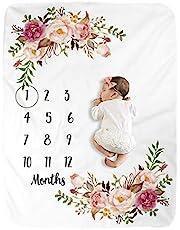 BUTTZO Milestone Blanket/Baby Milestone Blanket Girl Boy/Large Baby Blankets for Girls and Boys Newborn Photography Premium Fleece Baby Monthly Blanket Shower Gifts