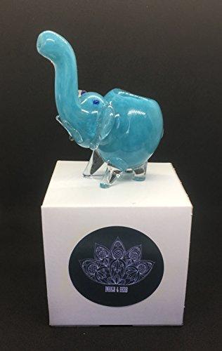 The Indigo and Herb Glass Elephant Decorative Piece (Blue)