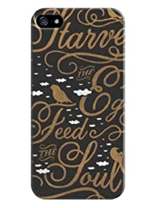 Youai Art Words Hard Back Shell Case / Cover for Iphone 5 and 5s - Davy Gray