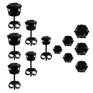 6 Pairs Stud Earrings Set, HOVEOX Brilliant Cut Round Clear Cubic Zirconia Inlaid Simulated Diamond Rhinestone…