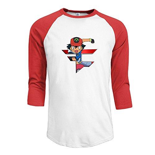 - MYDT1 Men's Faze Clan Ash Ketchum 3/4 Sleeve Baseball T Shirts/Short Sleeve/Top/Tee