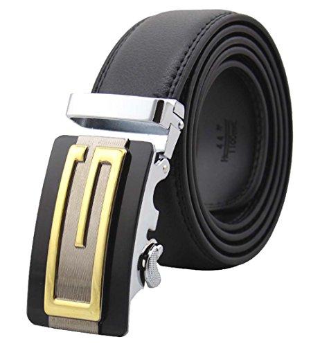Mens Genuine Leather Belts Automatic Gold G Buckle Belts Black Waist Strap