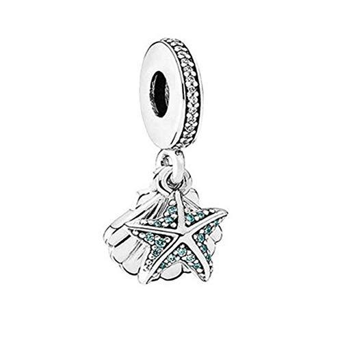 Zirconia Starfish & Seashell Ocean Charm fit Pandora Charms Bracelets ()