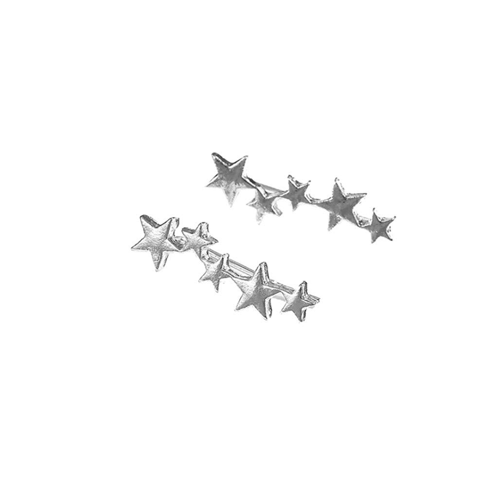 Cewtolkar Women Jewelry Star Earrings Simple Earrings Trend Earrings Girlfriend Earrings Birthday Earrings (Silver)