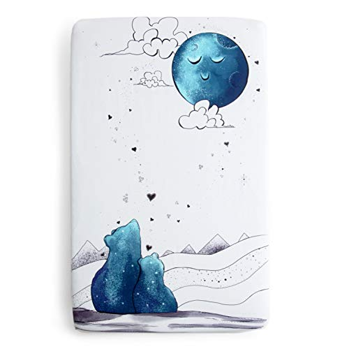 JumpOff Jo - Fitted Mini Crib Sheet - Fits Pack 'N Play Mattresses, Portable Cribs, Playards, and Playpen Mats - Soft 100% Cotton 24 x 38 x 5 Inches - to The Moon Series: Mama Bear Blue