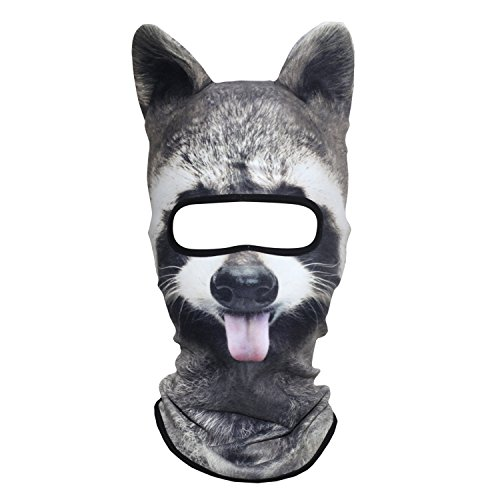 AXBXCX 3D Animal Ears Fleece Thermal Neck Warmer Windproof Hood Cover Face Mask Protection for Ski Snowboard Snowmobile Halloween Winter Cold Weather Funny Raccoon MDD-17