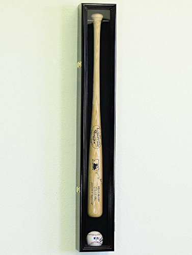 1 Baseball Bat Display Case Rack Cabinet Holder w/ UV Protection Lockable Veritical & Horizontal mounting -Black