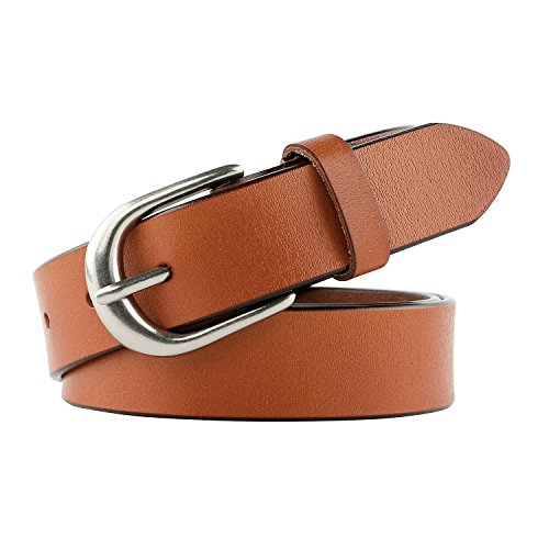 Women Leather Belt for Jeans Pants Plus Size Western Belt with Alloy Buckle by JASGOOD