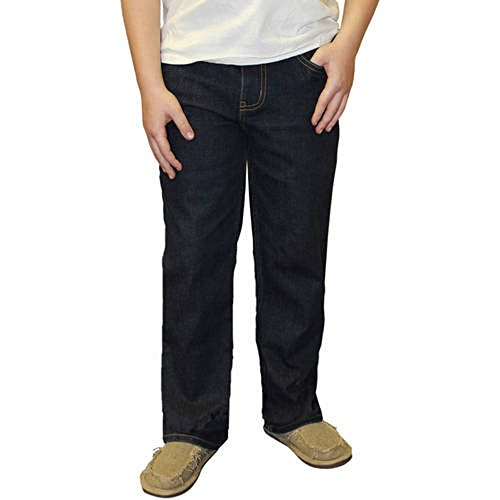 (Faded Glory Boys' Straight Denim Blue Jeans (8R, Dark Wash))