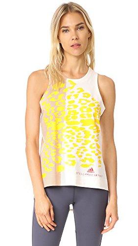 adidas by Stella McCartney Women's Essentials Leopard Tank, White/Pearl Rose, Small