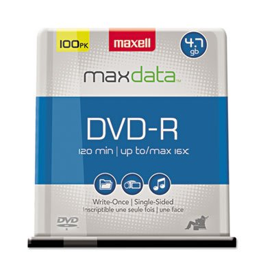 DVD-R Discs, 4.7GB, 16x, Spindle, Gold, 100/Pack, Sold as 2 Package by Maxell