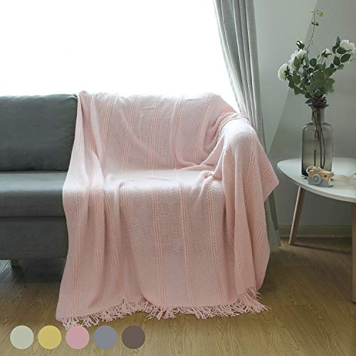 """ALPHA HOME Cable Knit Throw Blanket Acrylic Cozy Snuggle TV Bed Sofa Throw for Adults and Kids,5060"""",Pink"""
