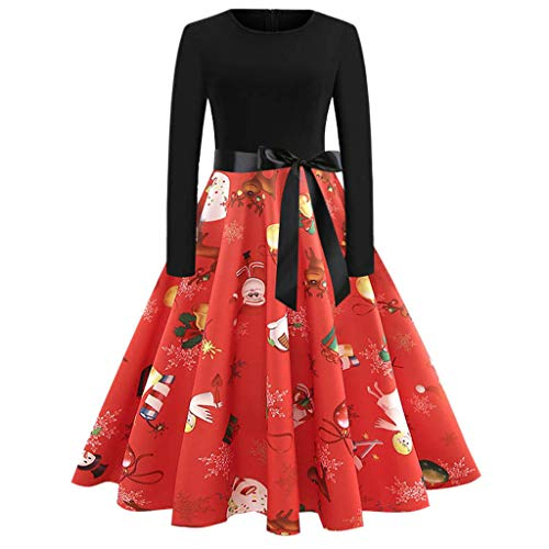 - Sunhusing Ladies Christmas Print Solid Color O-Neck Long Sleeve Bow Belt Prom Pleated Swing Dress Gown