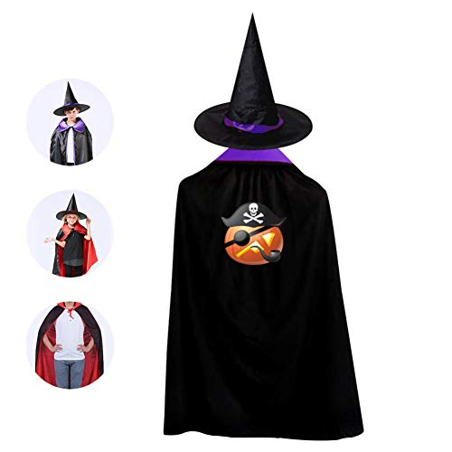 (69PF-1 Halloween Cape Matching Witch Hat Pumpkin Pirate Wizard Cloak Masquerade Cosplay Custume Robe Kids/Boy/Girl Gift)