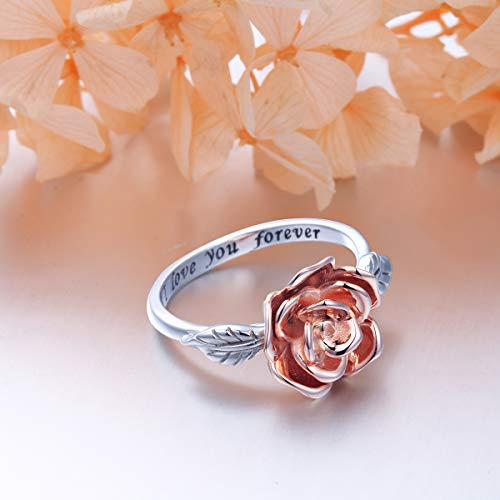 DAOCHONG S925 Sterling Silver Rose Flower Love Jewelry Bands Ring for Women Size 7 by DAOCHONG (Image #4)
