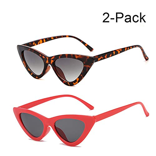 YOSHYA Retro Vintage Narrow Cat Eye Sunglasses for Women Clout Goggles Plastic Frame (Leoaprd Grey + Red -