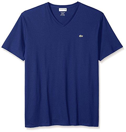 Blu Ribbed Jersey (Lacoste Men's Short Sleeve Jersey Pima reg Fit V Neck T-Shirt-TH6710, Ocean, 3)