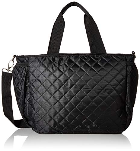 Simplily Co. Multi-Function Diaper Tote Bag Set for Everyday or Travel w/Over The Handle Sleeve (Black Quilted)
