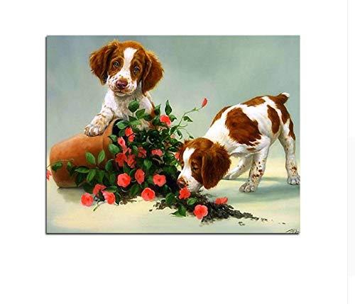 CZYYOU DIY Hündchen Tiere Rote Rosa Acryl Öl Leinwand Malen Nach Zahlen Wohnkultur Wandkunst Bilder, Mit Rahmen, 40x50cm B07Q4LQ57D   Verrückter Preis, Birmingham