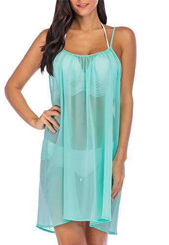 (ReachMe Womens Sheer Swimsuit Cover Up Dress Sexy Plus Size See Through Cover Ups(Mint XL))