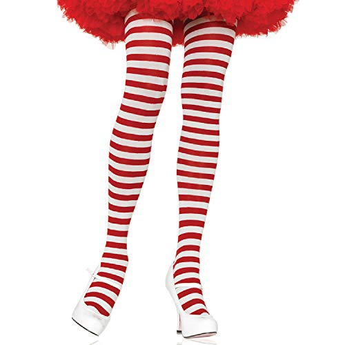 Leg Avenue Women's Plus Size Nylon Striped Tights, White/Red, 1X / 2X
