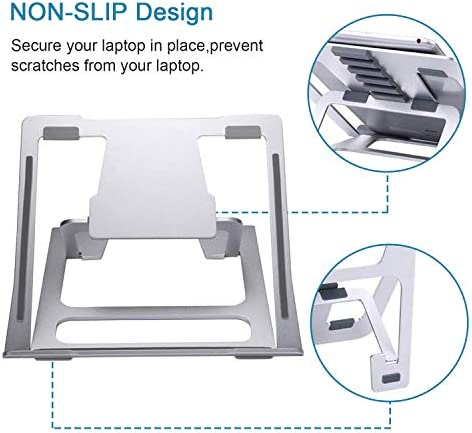 Adjustable Laptop Stand,Ventilated Portable Ergonomic Notebook Riser for Desk,Multi-Angle Adjustable Portable Anti-Slip Mount for MacBook, Surface Laptop, Notebook, 10″-17″ Tablet (Silver) 41doyzBosIL