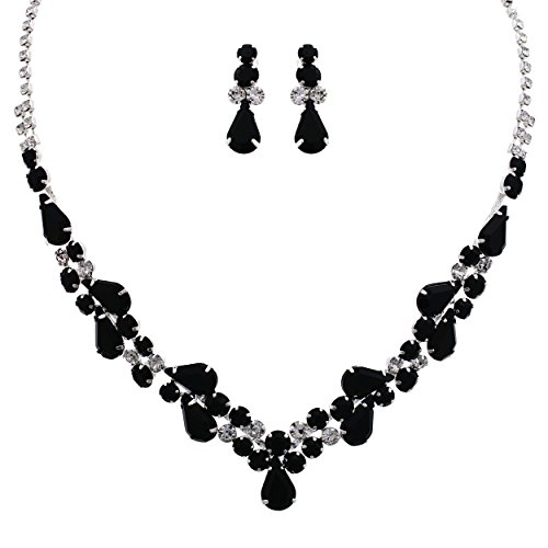 - Rosemarie Collections Women's Rhinestone Teardrop Statement Necklace Drop Earrings Set (Silver Tone/Jet Black)