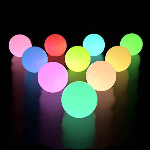 LOFTEK Floating Pool Lights 10 Packs with Timer, RGB Color Changing LED Ball Lights IP67 Waterproof, Replaceable Button Cell Hot Tub Bath Toys with 6 PCS Extra Batteries for Pool Decor Outdoor Indoor